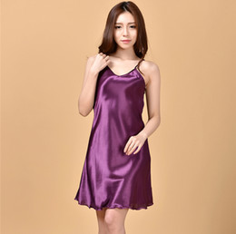 Wholesale Ladies Nighties Wholesale - Wholesale-Ladies Sexy Silk Satin Nightgown Sleeveless Nighties Above Knee Nightdress Plus Size Night Dress Summer Sleepshirt For Women