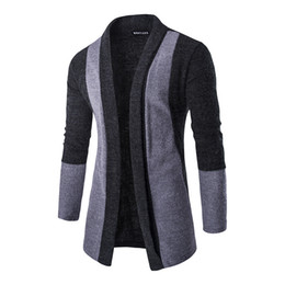 Wholesale Cardigan Simple - New Autumn College style Sweater simple Lapel Knitwear Cardigan Men Patchwork Cardigan Knitted Pullover Men Slim Fit Men Coat