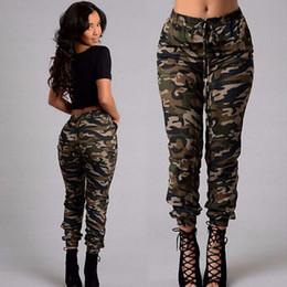 Wholesale Female Military - Plus Size Military Camouflage Cargo Pants Women Ankle-Length Low Waist Elastic Regular Fashion Pants Pocket Drawstring Female Bottoms