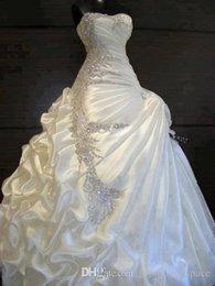 UK wedding dress sweetheart beading real - 2016 Real Image Gorgeous Ball Gown Wedding Dresses Sequins Crystal Zip Back Court Train Formal Bridal Gown Custom Made