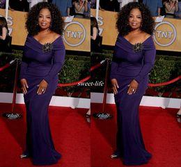 Wholesale Celebrity Designer Gowns - 2016 Oprah Winfrey Celebrity Dresses Long Sleeve Purple Floor Length Off the Shoulder Brooch Designer Long Formal Wear Pageant Evening Gowns