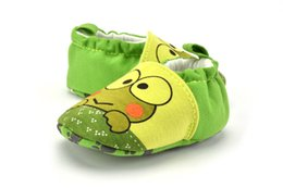 Wholesale Frog Shoes - Wholesale 3 Pair New Autumn Style Green Frog Baby Walker Shoes Indoor Flat Toddler Soft Bottom Non-Slip Shoes