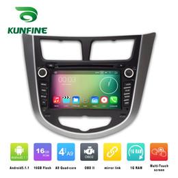 Wholesale Hyundai Gps - Quad Core 1024*600 Android 5.1.1 Car DVD GPS Navigation Player for HYUNDAI Verna Accent Solaris 2011-2012 Radio 3G Wifi Bluetooth KF-V2251Q