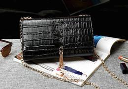 Wholesale Two Tone White Gold Chain - 2017 New High Quality Luxury women bag luxury designer handbags crocodile grain women handbag Chain tassel shoulder handbags