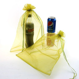 Wholesale Promotional Bags Plastic - 25x35cm Light Yellow Promotional Gifts Customized Logo Bags Organza Bags Pouches For Wedding Jewelry Package With Logo 100pcs