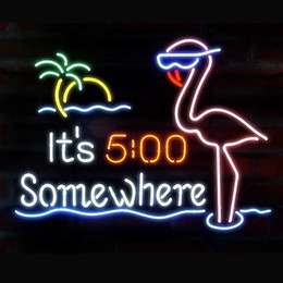 Wholesale pink disco lights - Brand New It's 5 O'clock Somewhere Pink Flamingo Glass Neon Sign Beer light 20X16""
