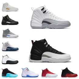 Wholesale Chinese Canvas Sneakers - 2017 Mens Air Retro 12 Red Flu Game Chinese New Year Taxi Gamma Blue Basketball Shoes Sneakers for Men Sports Shoes Size US8-13