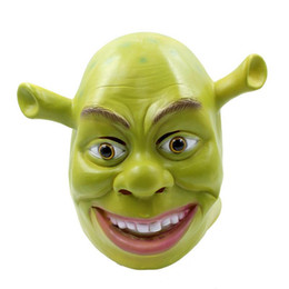 Wholesale Green Face Scary Halloween - 2017 New Monster Shrek Mask Halloween Adult Dance Horror Head Set Party Decorating Funny Face Mask Scary Face Dance Props