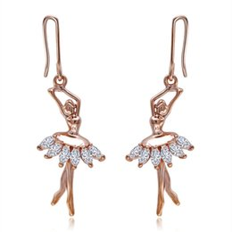 Wholesale Hook Dance - Dancing Ballerina Fashionable Earrings - Fish Hook - Sparkling Crystal Metal Cooper Plated Gold Hook Earring- Unique Gift and Souvenir