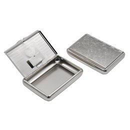 Wholesale Thin Gift Box - 9.6*6.8*2Cm Metal Cigarette Box Case Cigar Box Thin Flat Tobacco Boxes Storage Cigarette Cases Small Capacity Gifts Collection