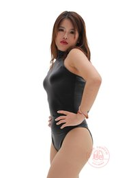 Wholesale Latex Bodysuit Women - HOT Latex Catsuit 200D Sexy Swimsuit High Neck Halter Black One Piece Swimwear Women Bodysuit Sleeveless Night Club Women's Sexy