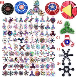 Wholesale 300types Rainbow Fidget spinner metal hand spinners Super hero Captain America Shield Iron Spider man hulk Retro spinning top toys metal box