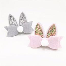 Wholesale Kawaii Baby Headbands - Kawaii Animal Rabbit Hairpin glitter Candy Children Girls Surprise 6Pcs Hair Clips Headband Baby Barrette Resin Hairpins hair Clip A7514