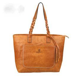 Wholesale Large Shopper - PU Leather Tassel Handbags Women Purse Shopper Totes Luxury Designer a main Vintage Fashion Shoulder Bag Winter High-capacity shopping bag