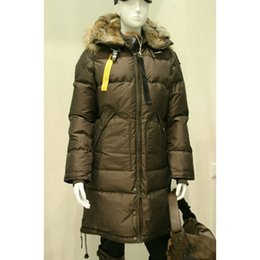 Wholesale Detachable Raccoon Collar - Luxury Parajumpers women's long bear down Jacket Real Raccoon Fur Down Coats 90% Duck Down Ladies Long Parka