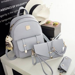 Wholesale Pocket Books - 3 piece Fashion Women Backpack PU Leather Women Backpack College wind schoolbag Teenage Girl High Quality Travel Books Rucksack