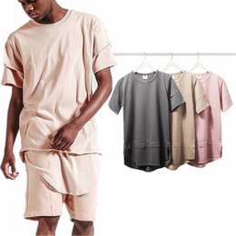 Wholesale Arc Long - 2016 top brand Fashion T shirt Kanye West Fear of god half T-shirt season 3 Terry arc short-sleeved 3 color tee
