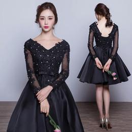 Wholesale Long Black Shoe Laces - Customized DE ( Dress+Black Shoes ) Long Sleeves Lace Illusion Princess Black Dress V Neck Dress Lace Up Back Closure Plus Size Dress