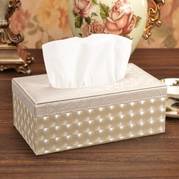 Wholesale boxes paper towels - Wholesale- Lighting Wood Leather Rectangular Tissue Storage boxes cover Toilet Paper Box Napkin Towel Holder Cases home decoration for car