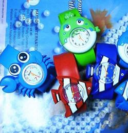 Wholesale Kids Digital Snap Watches - Cute Slap watch Ocean animal series kid Slap wristwatches Cute Crab Shark dolphin Fish Snap Slap watch Silicone Candy Watch Quartz Watches