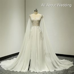 Wholesale Chiffon Neck Scarves - Illusion Silver Lined Lace Wedding Dresses with Detachable Shoulder Scarf Split Leg Sexy A line Chiffon Factory Custom Made
