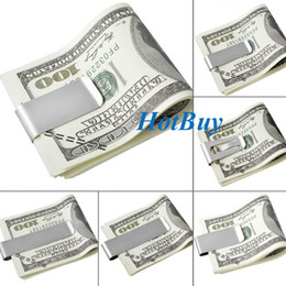 Wholesale Stainless Steel Money Clip Double - 6 Styles Stainless Steel Silver Double Sided Slim Pocket Cash ID Credit Card Money Clip Holder High Quality #3966