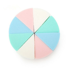 Wholesale Triangle Makeup Sponges - Wholesale-8Pcs Lot Triangle Shaped Candy Color Soft Magic Face Cleaning Pad Cosmetic Puff Cleansing Sponge Wash Face Makeup Tools New