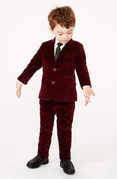 Wholesale Children Evening Wear - Velvet Kid's Wedding Groom Tuxedos Flower Boys Children Evening Party New Suits