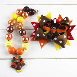 Wholesale Halloween Bubblegum Necklace - factory wholesale Chunky Bubblegum Necklace Halloween Necklace, Orange and Black Hair bow, Boutique Bow turkey pedant necklace thanksgiving