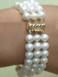 Perlas de triple hebra mar del sur online-Classic Triple Strands 8-9mm South Sea White Pearl Bracelet 7.5-8inch 14K Gold