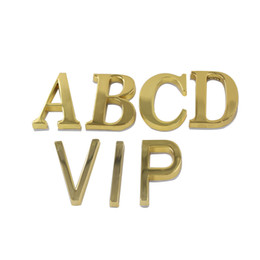 Wholesale House Signs Plaques - Golden Alloy Letter A B C D V I P House Hotel Door Number Address Plaque Sign Size 50x30mm with Self Adhesive Sticker