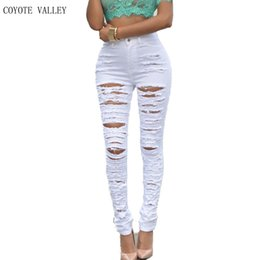 Wholesale Ladies Torn Jeans - COYOTE VALLEY 2017 high quality fashion lady big hole jeans women Personality beggar torn stretch feet pants jeans woman