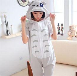 Wholesale Sexy Onesies For Women - Totoro Animal Onesie Pajamas Unisex Adult Summer Cotton Pyjamas Short Sleeve Sleepwear for Women Men Pijama Pyjamas