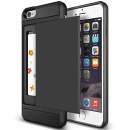 Wholesale Iphone 5s Case New - New Hybrid Tough Capa Case For Apple iphone 5 5S SE 6 6S 7 8 Plus Slider Card Holder Wallet Armor Phone Back Cover for iphone 7