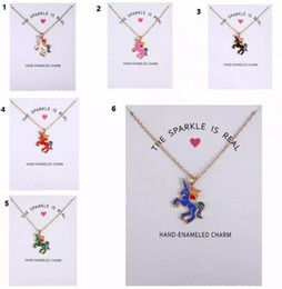 Wholesale Valentines Day Cards New - 2018 New Dogeared Necklace With Card Rainbow Unicorn Colored Glaze Horses Pendant Noble and Delicate Silver Choker Valentine Day Gift