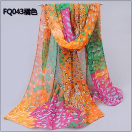 Wholesale Peacock Feathers Cape - 2014 peacock feather shape elegant of silk scarf chiffon fashion women's summer beach scarf sunscreen air conditioning cape