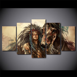 Canada 5 Pcs / Ensemble Encadré HD Imprimé Américain Indien Fille Cheval Mur Conception Toile Impression Affiche Moderne Art Peintures À L'huile Photos cheap american indian oil paintings Offre