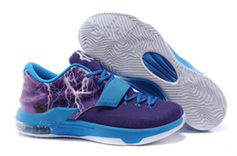 Wholesale Kds Shoes Cheap - New Arrival 2014 Kd7 VII Cheap Mens Basketball Shoes kd 7 Purple red black Grey blue Lightning Thunder Sneakers kds Flash 6 colors