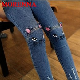 Wholesale Denim Jeans Skinny Girls - 2017 Spring Fashion Kids Girls Jeans Pants Girls Leggings Cartoon Cat Children Pencil Pants Long Trousers Pantalon Fillette
