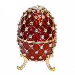 Wholesale Faberge Gifts - Crystal Bejeweled Faberge Egg Trinket & Jewelry Box Ring Box Vintage Decoration Gift