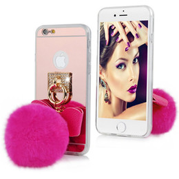 Wholesale Iphone 5s Bow - Luxury Bling Bow Fur Ball Mirror Electroplating Phone Case Soft Cover For iPhone 5s 6 6s Plus Samsung S6 Edge S7 S7 Edge Note 5