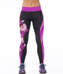 Wholesale Tight White Pants Women - NEW 0010 Sexy Girl Women Alice in Wonderland Cheshire cat 3D Prints High Waist Running GYM Tights Fitness Sport Leggings Yoga Pant