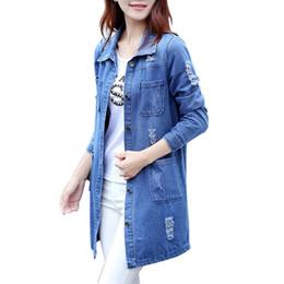 Wholesale jeans blouses women - Wholesale- Plus Size Women Autumn Fashion Jeans Coat Loose Denim Blouses Long Sleeve Shirts Casual Clothing 2017