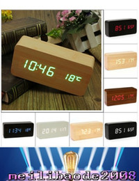 Wholesale Table Clock Calendar Light - 2016 Wood Digita Alarm Clock LED Alarm Clock Despertador Temperature Sounds Control LED Night Lights Electronic Desktop Digital Table MYY