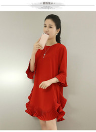 Wholesale Korean Silk Short Dress - Free Shipping New Women Dress Style Simple Chiffon Korean Style Lotus Leaf Add Fertilizer Summer Short Sleeve Slim Fashion Red Color