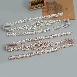 Wholesale Silver Dress Belt Accessory - Full Length Rhinestones Appliques Sewing On Wedding Dresses Belt Sashes Rose Gold Silver Crystal DIY Bridal Accessory YS840