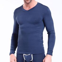 Wholesale thermal long sleeve shirts men - Bamboo Mens Thermal Tops Sexy Men Long Sleeve V-Neck Slim Termica T-shirts Gay Warm Winter Sleepwear Calzoncillos Largos Hombre