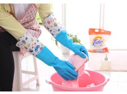 Wholesale Household Gloves Dishwashing - Plus velvet thick latex PVC gloves waterproof and durable Suitable for household cleaning dishwashing clothes cleaning