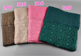 Wholesale Knitted Beachwear - Muslim women's hijiabs solid plain color scarves Malaysia wrap lace volie scarves for muslim women 5 pcs lot 02253