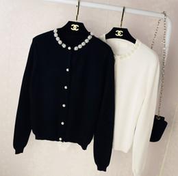 Wholesale Vivi Fashion - Wholesale- Women Cardigan Sweater Pearl Beading Brand Design Knitted Sweaters Women Vivi Lena Fashion Korean Thin Coat Outerwear Clothing